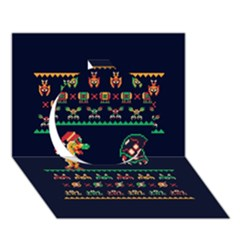 We Wish You A Metroid Christmas Ugly Holiday Christmas Blue Background Circle 3d Greeting Card (7x5)