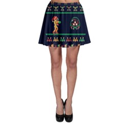 We Wish You A Metroid Christmas Ugly Holiday Christmas Blue Background Skater Skirt