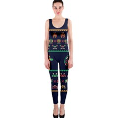 We Wish You A Metroid Christmas Ugly Holiday Christmas Blue Background Onepiece Catsuit