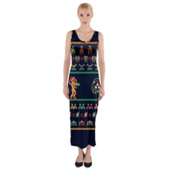 We Wish You A Metroid Christmas Ugly Holiday Christmas Blue Background Fitted Maxi Dress