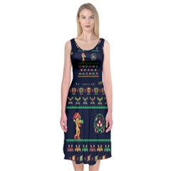 We Wish You A Metroid Christmas Ugly Holiday Christmas Blue Background Midi Sleeveless Dress