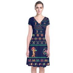 We Wish You A Metroid Christmas Ugly Holiday Christmas Blue Background Short Sleeve Front Wrap Dress