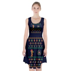 We Wish You A Metroid Christmas Ugly Holiday Christmas Blue Background Racerback Midi Dress