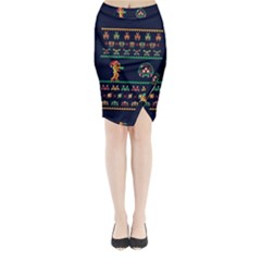 We Wish You A Metroid Christmas Ugly Holiday Christmas Blue Background Midi Wrap Pencil Skirt