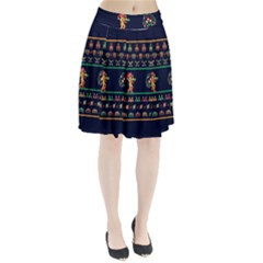 We Wish You A Metroid Christmas Ugly Holiday Christmas Blue Background Pleated Skirt