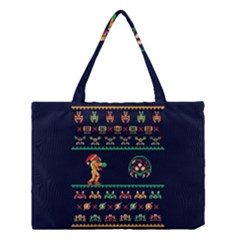 We Wish You A Metroid Christmas Ugly Holiday Christmas Blue Background Medium Tote Bag