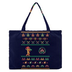 We Wish You A Metroid Christmas Ugly Holiday Christmas Blue Background Medium Zipper Tote Bag
