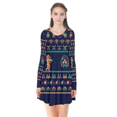 We Wish You A Metroid Christmas Ugly Holiday Christmas Blue Background Flare Dress