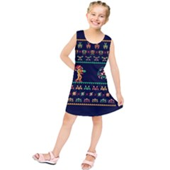 We Wish You A Metroid Christmas Ugly Holiday Christmas Blue Background Kids  Tunic Dress