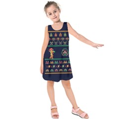 We Wish You A Metroid Christmas Ugly Holiday Christmas Blue Background Kids  Sleeveless Dress