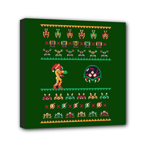 We Wish You A Metroid Christmas Ugly Holiday Christmas Green Background Mini Canvas 6  X 6
