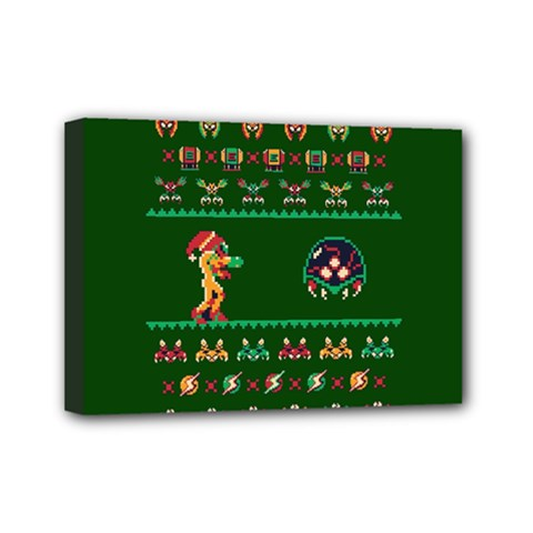 We Wish You A Metroid Christmas Ugly Holiday Christmas Green Background Mini Canvas 7  X 5