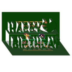We Wish You A Metroid Christmas Ugly Holiday Christmas Green Background Happy Birthday 3D Greeting Card (8x4)