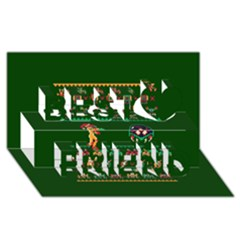 We Wish You A Metroid Christmas Ugly Holiday Christmas Green Background Best Friends 3D Greeting Card (8x4)