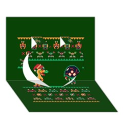 We Wish You A Metroid Christmas Ugly Holiday Christmas Green Background Heart 3d Greeting Card (7x5)