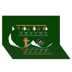 We Wish You A Metroid Christmas Ugly Holiday Christmas Green Background Twin Hearts 3d Greeting Card (8x4)