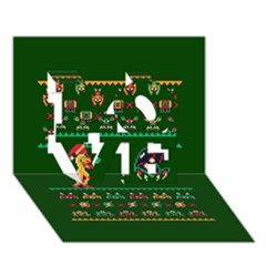 We Wish You A Metroid Christmas Ugly Holiday Christmas Green Background Love 3d Greeting Card (7x5)