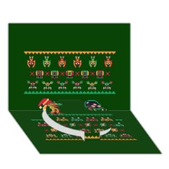 We Wish You A Metroid Christmas Ugly Holiday Christmas Green Background Circle Bottom 3d Greeting Card (7x5)