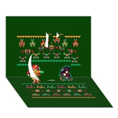 We Wish You A Metroid Christmas Ugly Holiday Christmas Green Background Apple 3d Greeting Card (7x5)