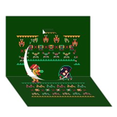 We Wish You A Metroid Christmas Ugly Holiday Christmas Green Background Circle 3d Greeting Card (7x5)