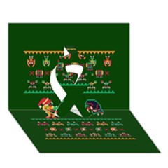 We Wish You A Metroid Christmas Ugly Holiday Christmas Green Background Ribbon 3d Greeting Card (7x5)