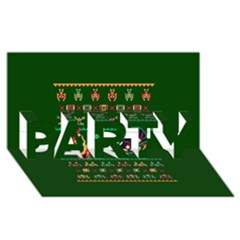 We Wish You A Metroid Christmas Ugly Holiday Christmas Green Background PARTY 3D Greeting Card (8x4)