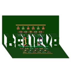 We Wish You A Metroid Christmas Ugly Holiday Christmas Green Background BELIEVE 3D Greeting Card (8x4)