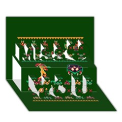 We Wish You A Metroid Christmas Ugly Holiday Christmas Green Background Miss You 3d Greeting Card (7x5)