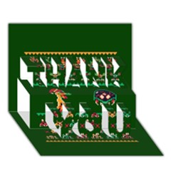 We Wish You A Metroid Christmas Ugly Holiday Christmas Green Background Thank You 3d Greeting Card (7x5)