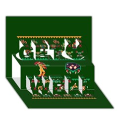 We Wish You A Metroid Christmas Ugly Holiday Christmas Green Background Get Well 3d Greeting Card (7x5)