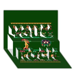 We Wish You A Metroid Christmas Ugly Holiday Christmas Green Background You Rock 3d Greeting Card (7x5)