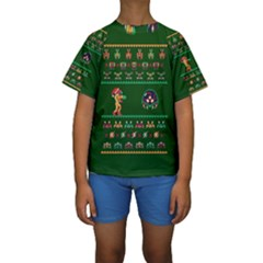 We Wish You A Metroid Christmas Ugly Holiday Christmas Green Background Kids  Short Sleeve Swimwear