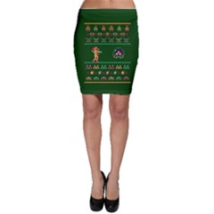 We Wish You A Metroid Christmas Ugly Holiday Christmas Green Background Bodycon Skirt