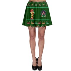 We Wish You A Metroid Christmas Ugly Holiday Christmas Green Background Skater Skirt