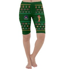 We Wish You A Metroid Christmas Ugly Holiday Christmas Green Background Cropped Leggings