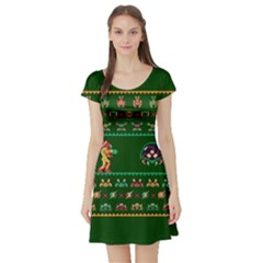 We Wish You A Metroid Christmas Ugly Holiday Christmas Green Background Short Sleeve Skater Dress