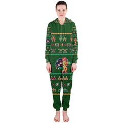 We Wish You A Metroid Christmas Ugly Holiday Christmas Green Background Hooded Jumpsuit (ladies)
