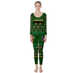 We Wish You A Metroid Christmas Ugly Holiday Christmas Green Background Long Sleeve Catsuit