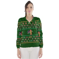 We Wish You A Metroid Christmas Ugly Holiday Christmas Green Background Wind Breaker (women)