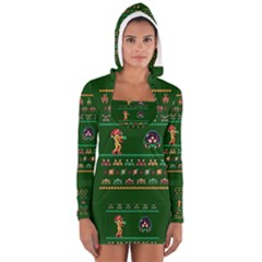 We Wish You A Metroid Christmas Ugly Holiday Christmas Green Background Women s Long Sleeve Hooded T Shirt