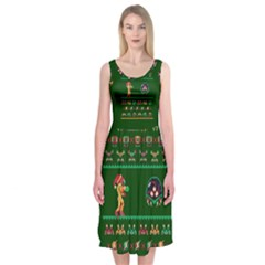 We Wish You A Metroid Christmas Ugly Holiday Christmas Green Background Midi Sleeveless Dress