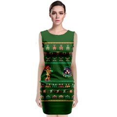 We Wish You A Metroid Christmas Ugly Holiday Christmas Green Background Classic Sleeveless Midi Dress