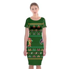 We Wish You A Metroid Christmas Ugly Holiday Christmas Green Background Classic Short Sleeve Midi Dress