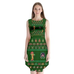 We Wish You A Metroid Christmas Ugly Holiday Christmas Green Background Sleeveless Chiffon Dress