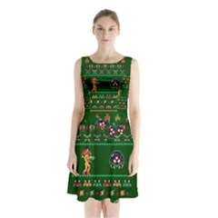We Wish You A Metroid Christmas Ugly Holiday Christmas Green Background Sleeveless Chiffon Waist Tie Dress