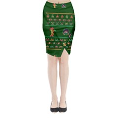 We Wish You A Metroid Christmas Ugly Holiday Christmas Green Background Midi Wrap Pencil Skirt