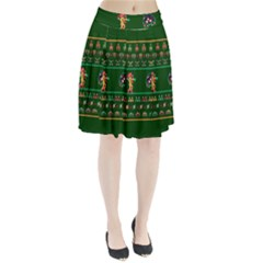 We Wish You A Metroid Christmas Ugly Holiday Christmas Green Background Pleated Skirt