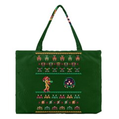 We Wish You A Metroid Christmas Ugly Holiday Christmas Green Background Medium Tote Bag