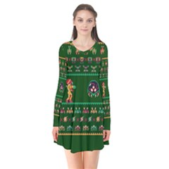We Wish You A Metroid Christmas Ugly Holiday Christmas Green Background Flare Dress