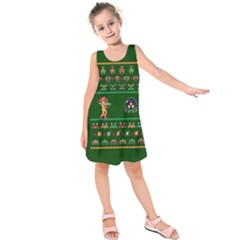 We Wish You A Metroid Christmas Ugly Holiday Christmas Green Background Kids  Sleeveless Dress